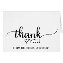 Black & White Calligraphy Bridal Shower Thank You Card