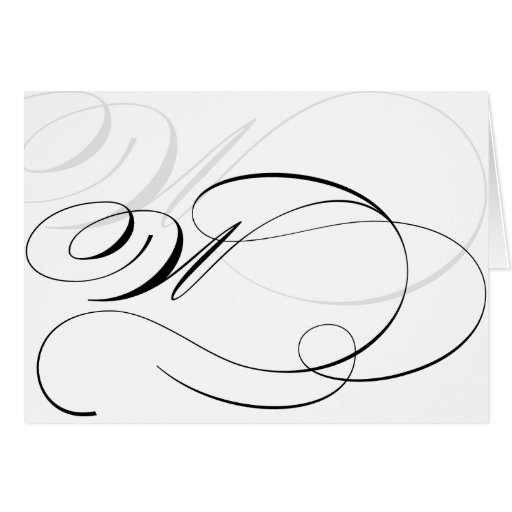Black White Calligraphy Initial W Monogram Cards Zazzle