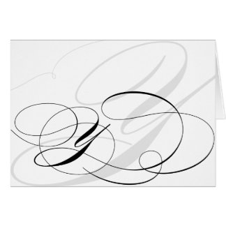 Black & White Calligraphy Initial Y Monogram Cards