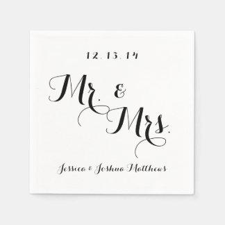 Black & White Calligraphy Mr. & Mrs. Wedding Paper Napkin