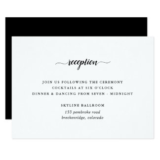 Black & White Calligraphy Reception Card