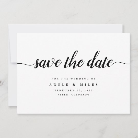 What Are Save The Date Cards: Black & White Calligraphy Save The Date Card