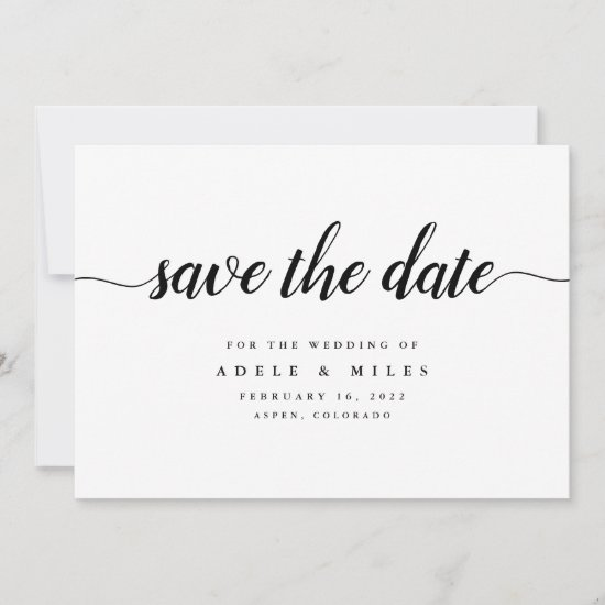 Black & White Calligraphy Save the Date Card