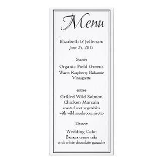 Black & White Calligraphy Script Wedding Menu Card