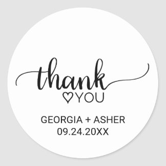 Black & White Calligraphy Thank You Wedding Favor Classic Round Sticker