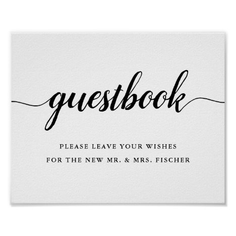 Black & White Calligraphy Wedding Guestbook Sign
