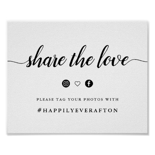 Black  White Calligraphy Wedding Hashtag Sign