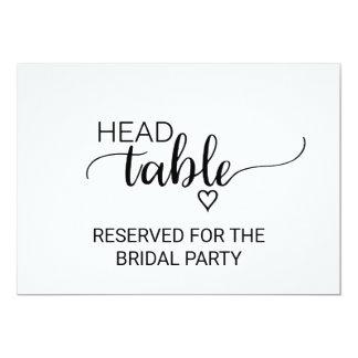Black & White Calligraphy Wedding Head Table Sign Invitation