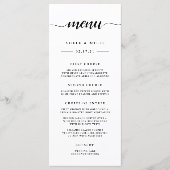 Black & White Calligraphy Wedding Menu Card