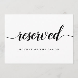"""Black & White Calligraphy Wedding """"Reserved"""" Sign"""