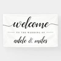 Black & White Calligraphy Wedding Welcome Banner