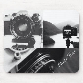 Black White Camera photography typography Mouse Pad