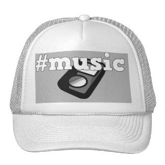 Black & White Cap Hashtag Music with Ipod Design Trucker Hat