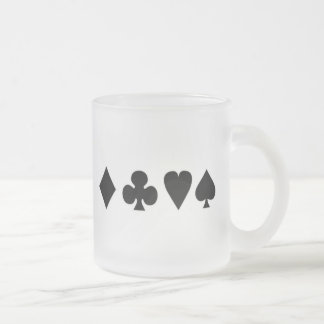 Black & White  Card Suits 1 10 Oz Frosted Glass Coffee Mug