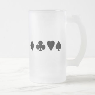 Black & White  Card Suits 1 16 Oz Frosted Glass Beer Mug