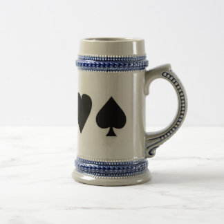 Black & White  Card Suits 1 18 Oz Beer Stein