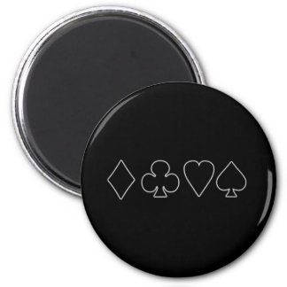 Black & White  Card Suits 1 2 Inch Round Magnet