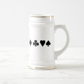 Black & White Card Suits Beer Stein