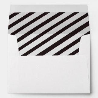 Black & White Carnival Stripes Lined Envelopes