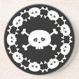 Black & White Cartoon Skull & Crossbones Coaster
