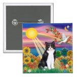 Black & White Cat - Autumn Sun Pin