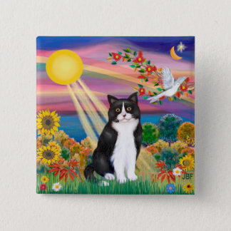Black & White Cat - Autumn Sun Pinback Button