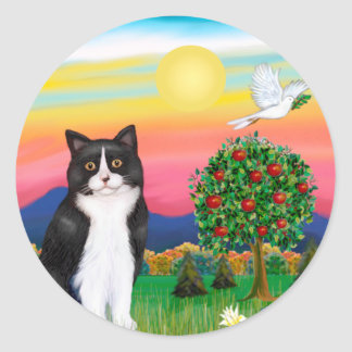 Black & White Cat - Bright Country Classic Round Sticker