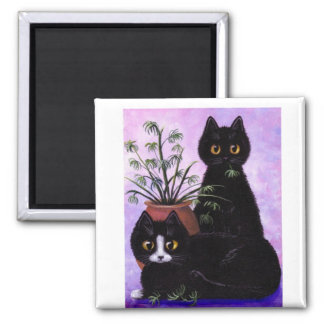 Black White Cat by Creationarts Lisa R Adams 2 Inch Square Magnet
