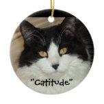 Black & white Cat Catitude! Double-Sided Ceramic Round Christmas Ornament