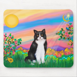 Black & White Cat - Day Star Mouse Pad