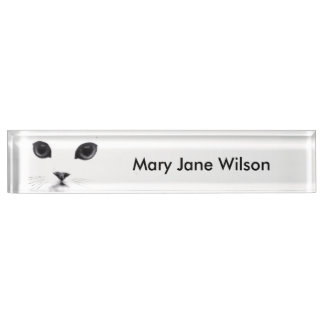 Black White Cat Face Nameplate