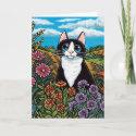 Black & White Cat Flower Field Meadow Card