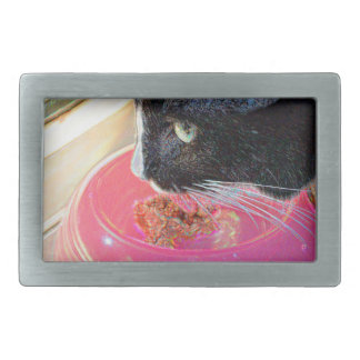 black white cat head pink bowl sparkle animal pet belt buckle