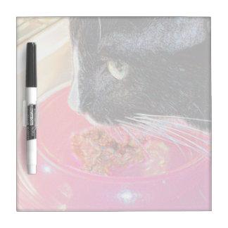 black white cat head pink bowl sparkle animal pet dry erase board