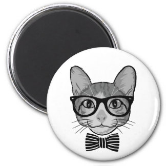 Black White Cat Hipster with Bow Tie Magnet