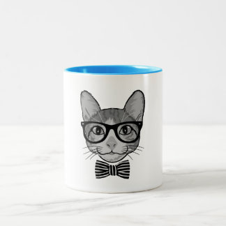 Black White Cat Hipster with Bow Tie Two-Tone Coffee Mug