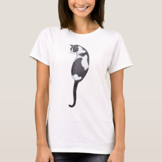 Black & White Cat Ladies Baby Doll Shirt