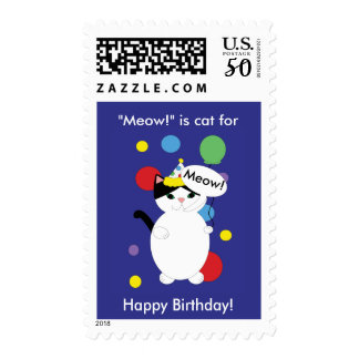 Black White Cat Meow Birthday Blue Personalize Postage