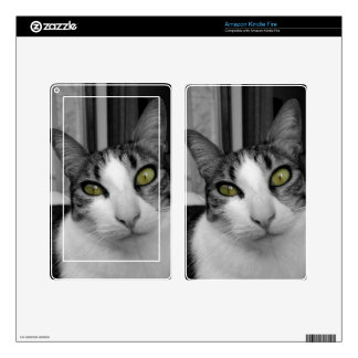 Black White Cat Photo Decal For Kindle Fire