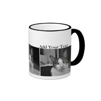 Black White Cat Photo Ringer Coffee Mug