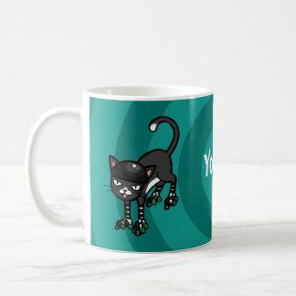 Black white cat Rollerskates customisable template Coffee Mug