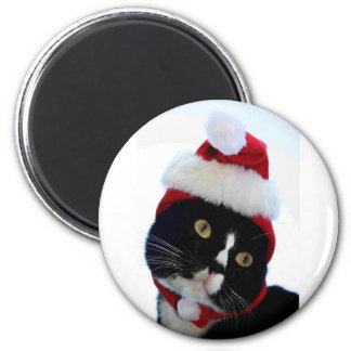 Black & White Cat Santa Hat looking left no frame Magnet