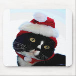 Black & White Cat Santa Hat looking left no frame Mousepads