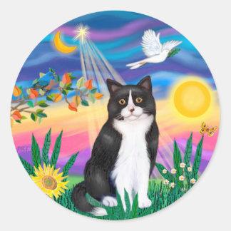 Black & White Cat - Twilight Classic Round Sticker