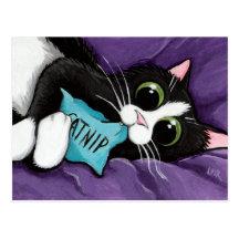 Black & White Cat with Catnip Pillow - Cat Art Postcard