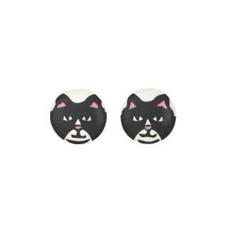 BLACK & WHITE CAT With Pink Ears Earrings