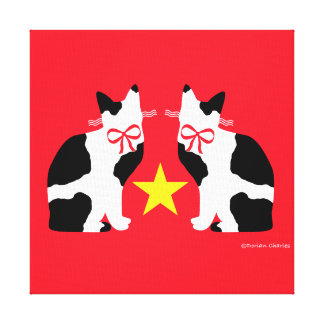 """""""Black & White Cats & Star"""" Red Wrapped Canvas"""