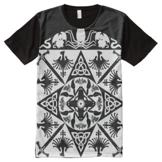 Black White Celtic Medieval Fantasy All-Over Print Shirt