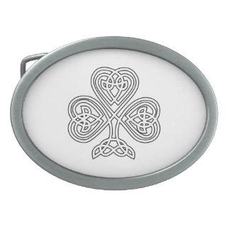 Black White Celtic Shamrock Belt Buckles