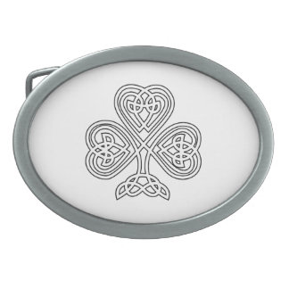 Black White Celtic Shamrock Oval Belt Buckle